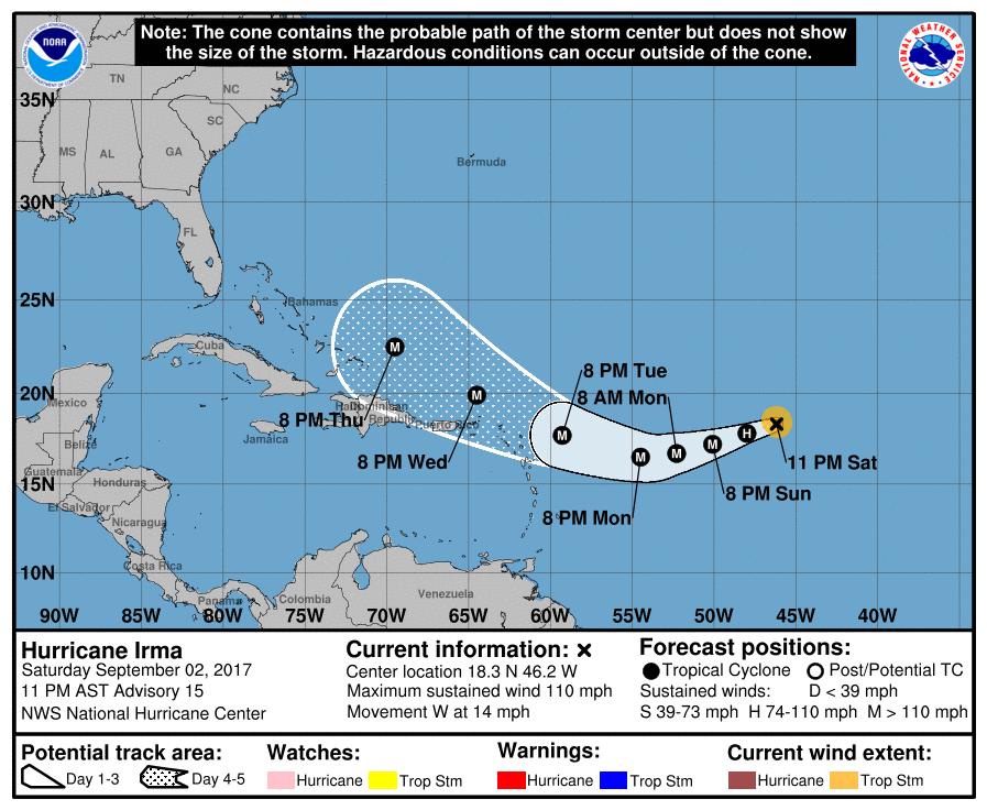 Irma amenaza a islas del caribe