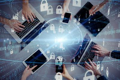 Network security concept. Cyber protection. Anti virus software.