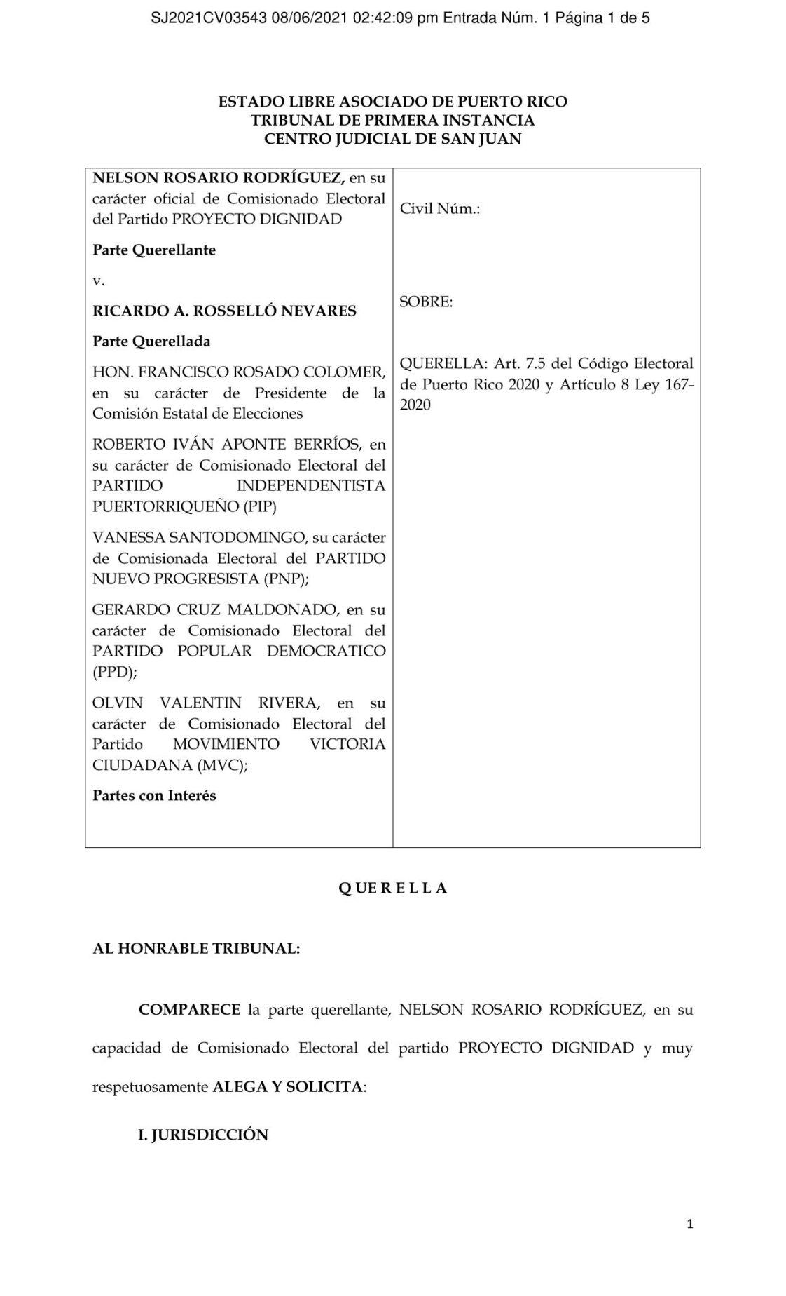 Proyecto Dignidad vs Ricardo Rosselló- tribunal