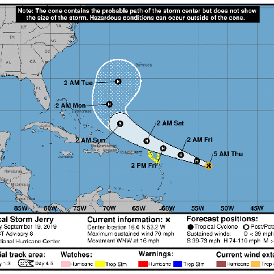 Tormenta tropical Jerry aumenta sus vientos a 70 mph