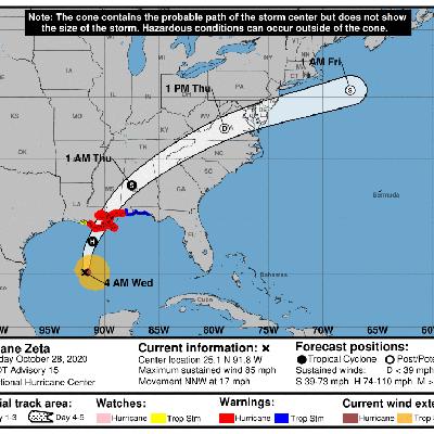 El huracán Zeta avanza hacia la castigada costa de Estados Unidos