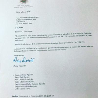 Carta de renuncia Pedro Rosselló