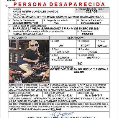 Se busca mujer desaparecida en Barranquitas