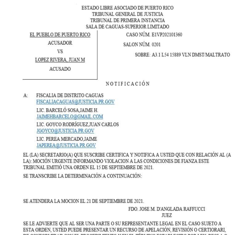 Tribunal Caguas- caso Juanma Lopez