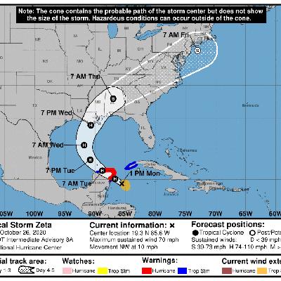 Zeta podría llegar a huracán antes de golpear México y Estados Unidos