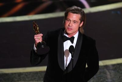 Brad Pitt Accepts Oscar for Best Supporting Actor