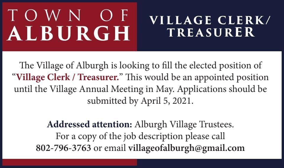Town of Alburgh is Hiring!