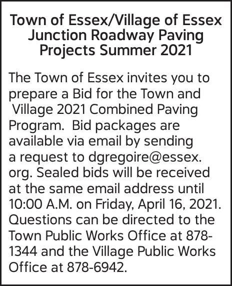 Town of Essex/Village of Essex Junction Roadway Paving Projects Summer 2021