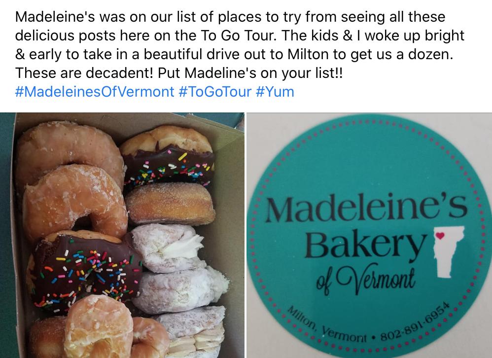 Madeleine's Bakery social media