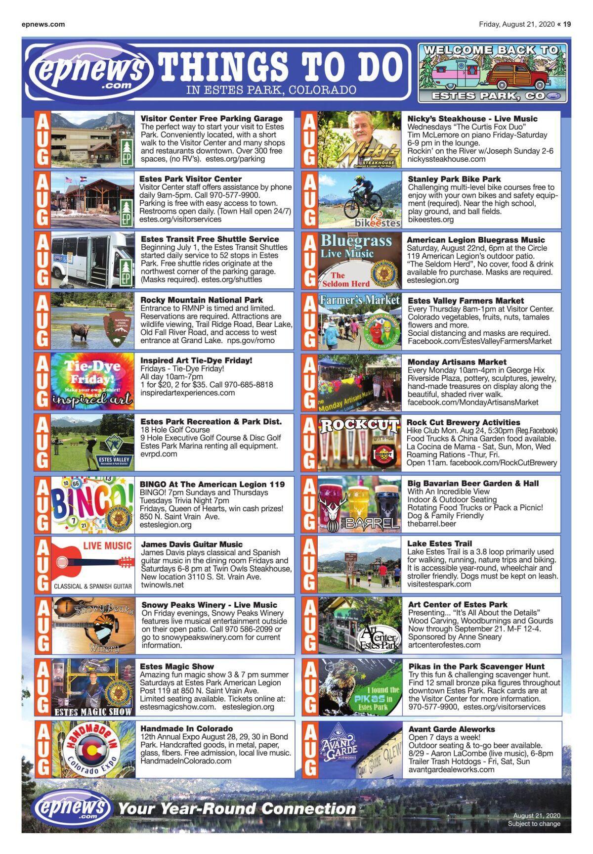 Things To Do August 21 2020 Estesparknews Com