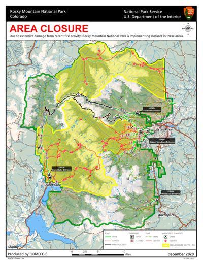 Rocky Mountain National Park Closure Map December 2020