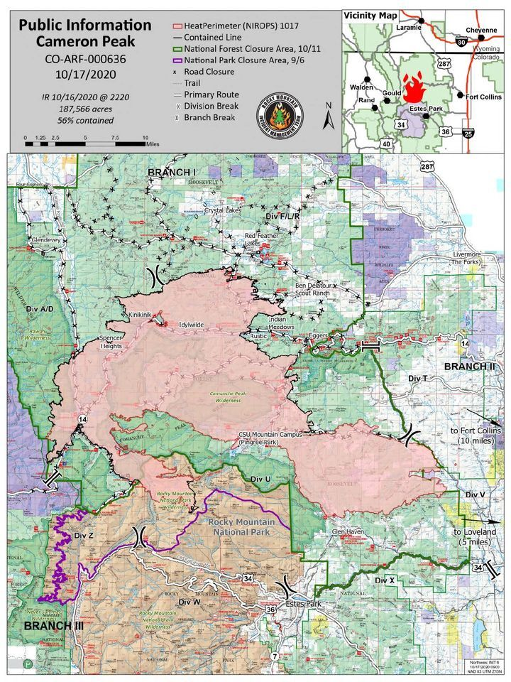 Cameron Peak Fire Map, Oct. 17, 2020