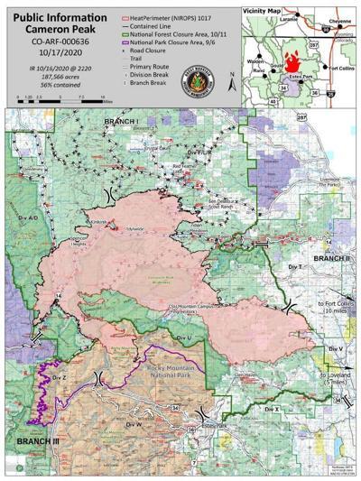 Cameron Peak Fire Map, Oct. 17, 2020