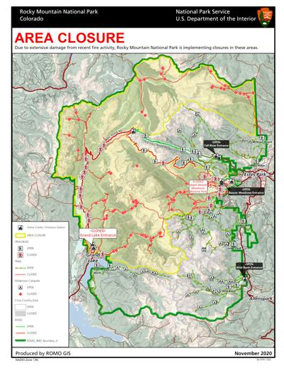 RMNP Closure Map, November 20, 2020