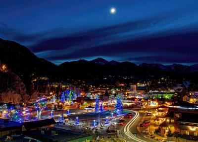 Downtown Estes Park - Aerial Winter Scene