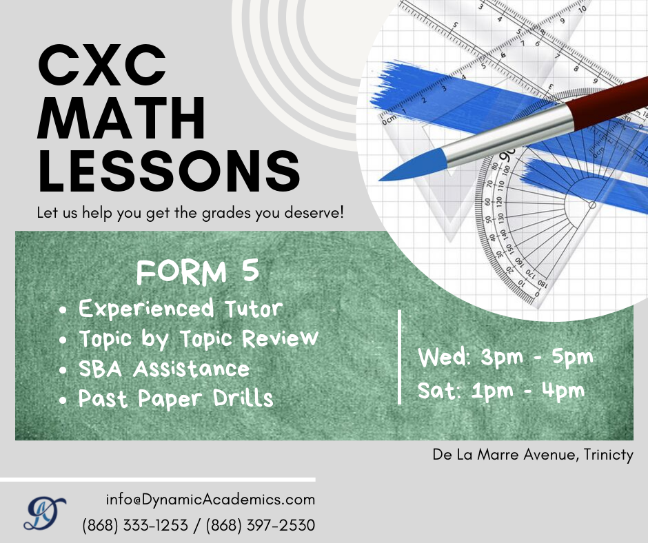 CXC MATH LESSONS: Forms 3, 4, 5. Trincity. 333-1253/