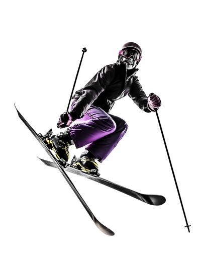 one woman skier freestyler jumping silhouette