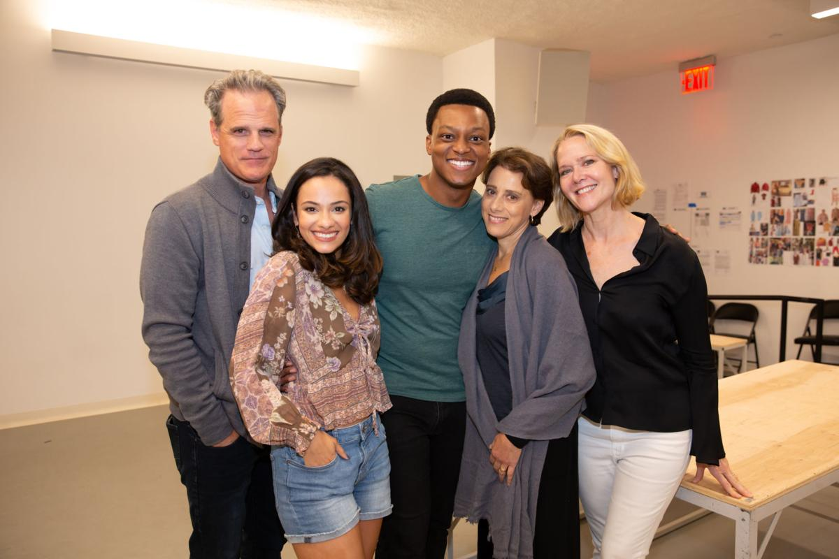 Main photo--Michael Park, Isabelle McCalle, J Quinton Johnson, Judy Kuhn, and Rebecca Luker in rehearsal for FOOTLOOSE_Photo by Jeremy Daniel.jpg