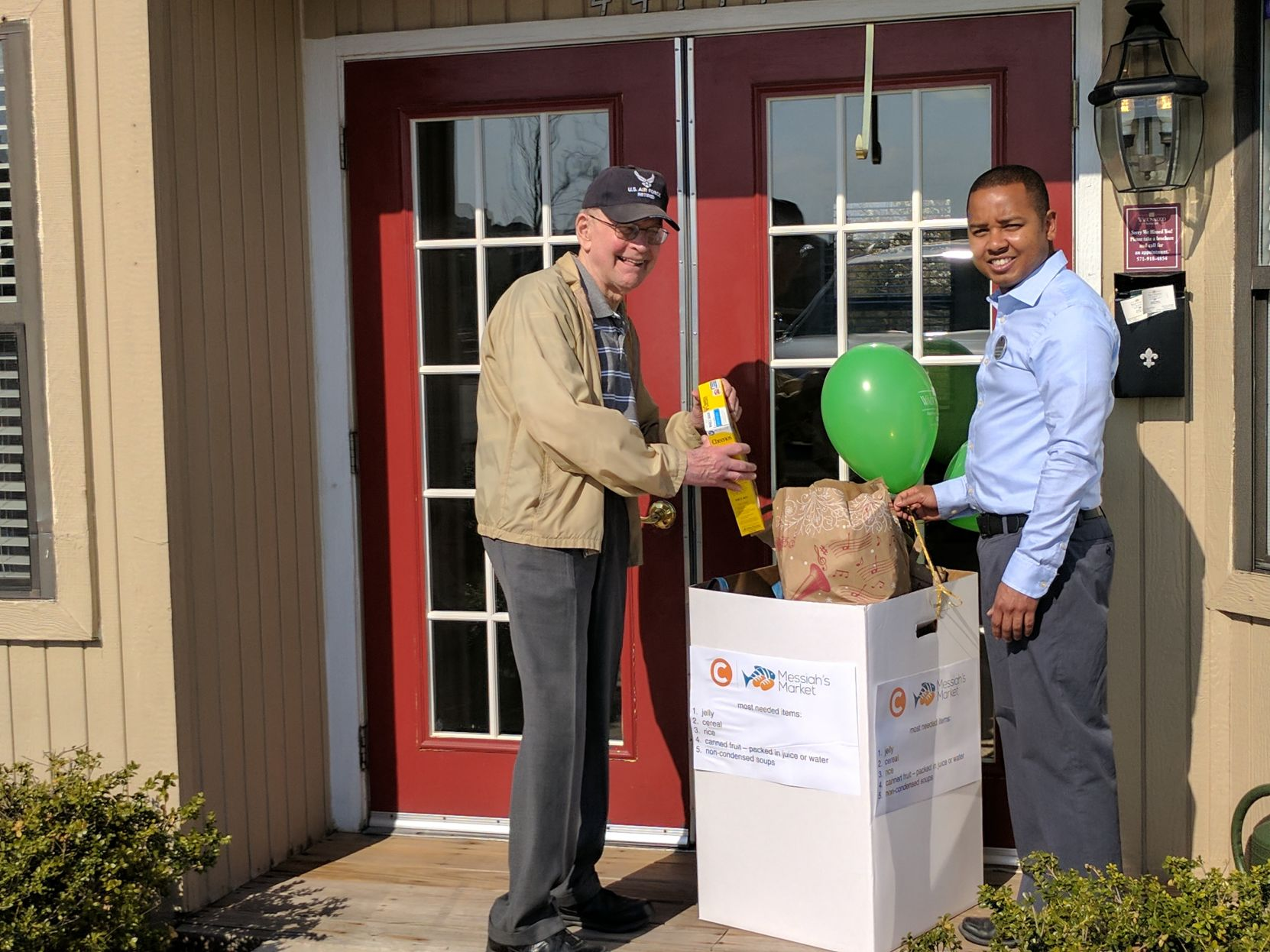 Loudoun County Resident Oliver Carroll (left) Delivers A Box Of Cereal To  The Waltonwood Ashburn Information Center For A Food Drive Organized By The  Senior ...