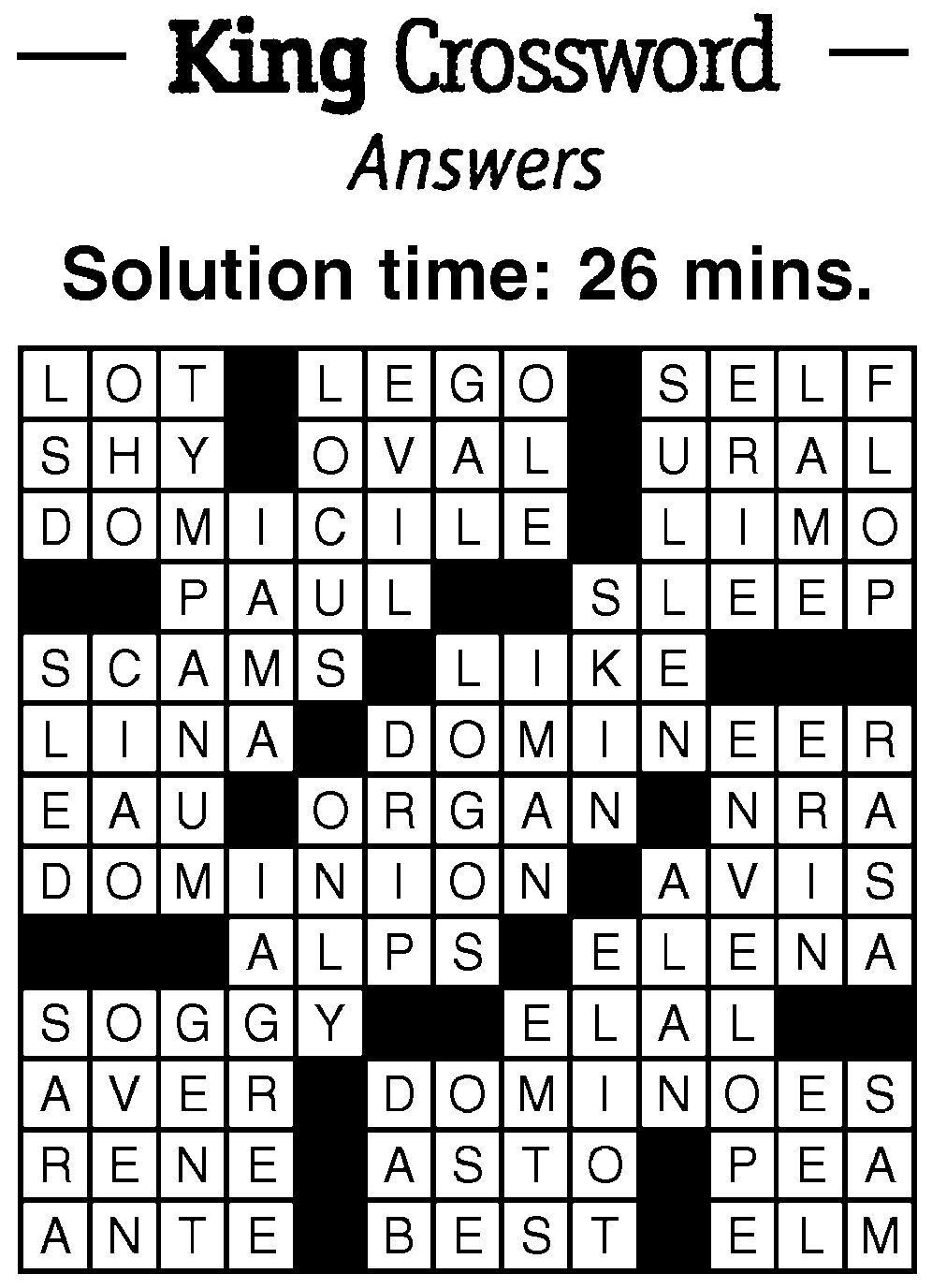 7/9 Crossword Answer