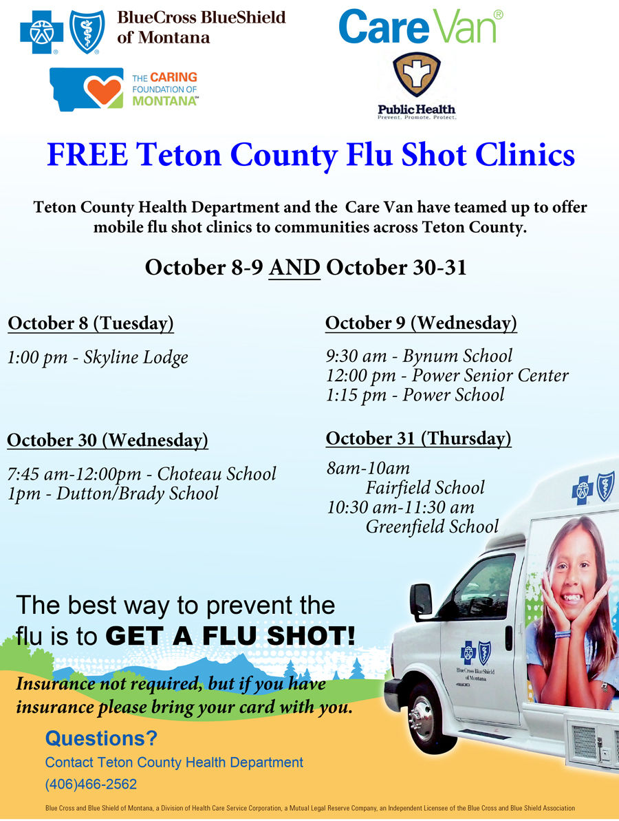 2019 Flue Shot Clinics in Teton County Montana