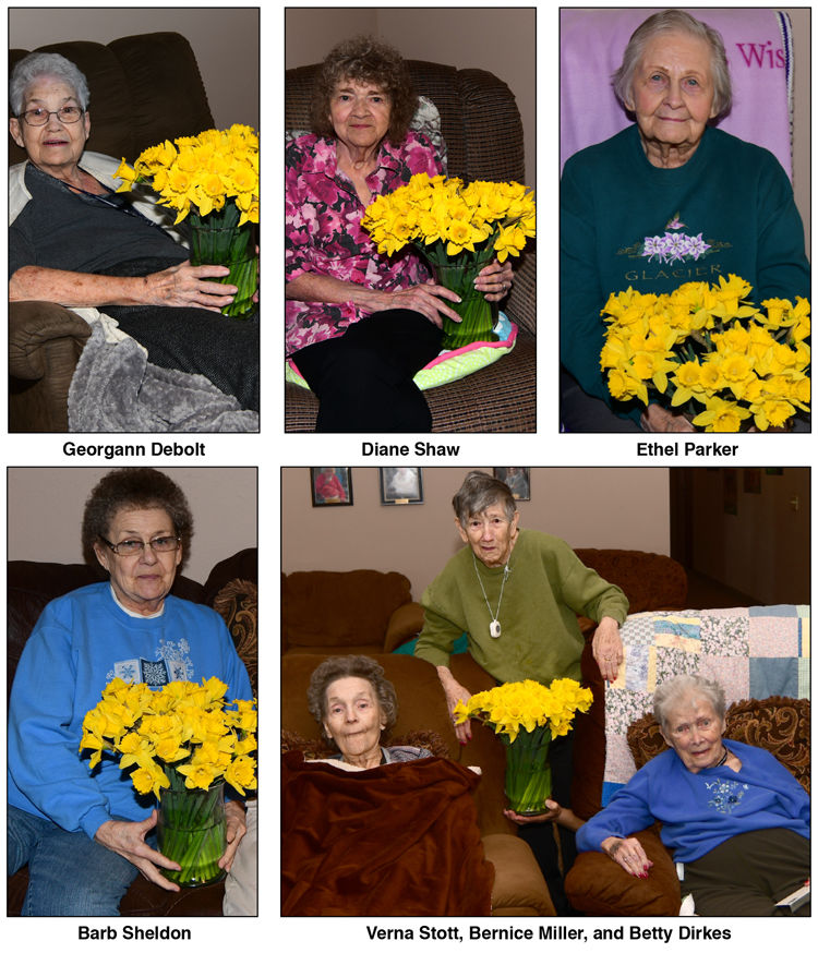 The ladies at Front Range Assisted Living enjoy the fresh0cut daffodils....