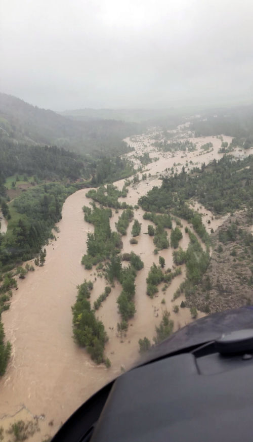 View from the Two Bear Air helicopter showing the flooding below.