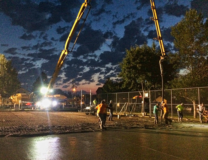 Concrete Poured For Tennis Courts