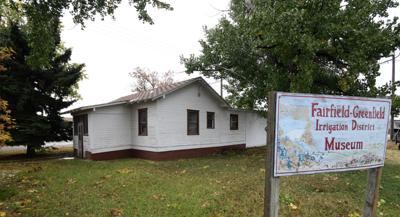Old GID Office Building in Fairfield, Montana