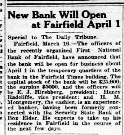 The Fairfield Times Building - Where You Could Get Your Newspaper, Printing, Advertising... And A Checking Account!