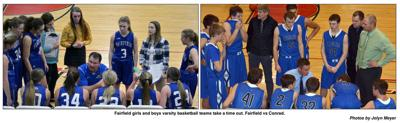 Fairfield girls and boys varsity basketball teams take a time out. Fairfield vs Conrad.
