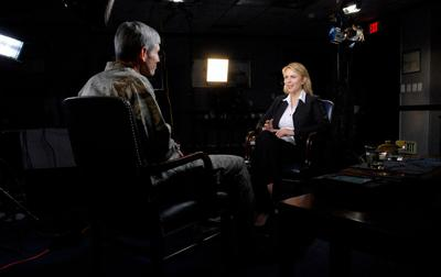 """Air Force Chief of Staff Gen. Norton Schwartz, left,  answers questions during an interview April 15, 2009 with Lara Logan from """"60 Minutes."""""""