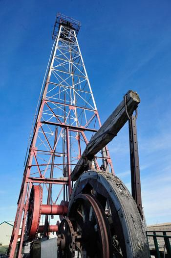 Cable tool drilling rig on display at the Oil Field Museum in Cut Bank