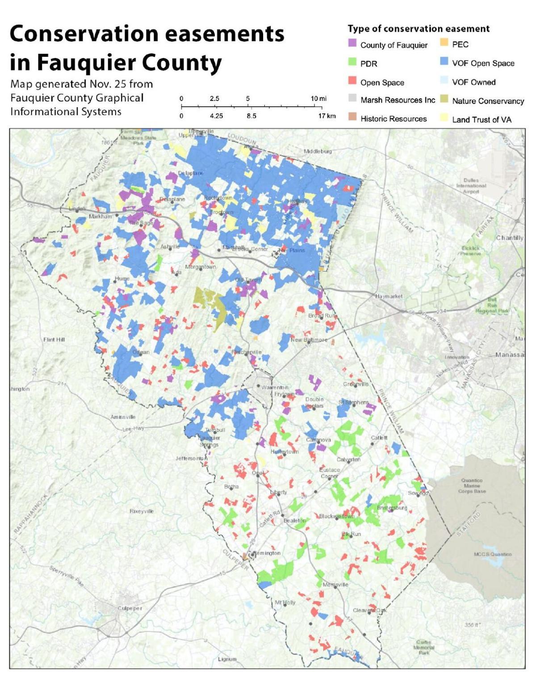 Fauquier conservation easements map December 2020