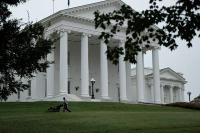 capitol with lawnmower