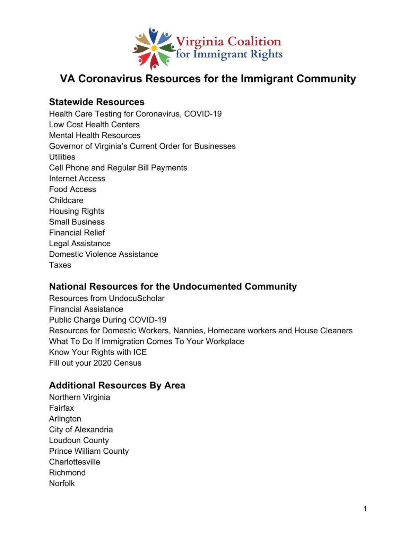 VACIR Coronavirus Resources for the Immigrant Community