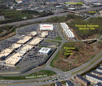 An aerial view of the proposed location for a new stadium for the Potomac Nationals Minor League baseball team.