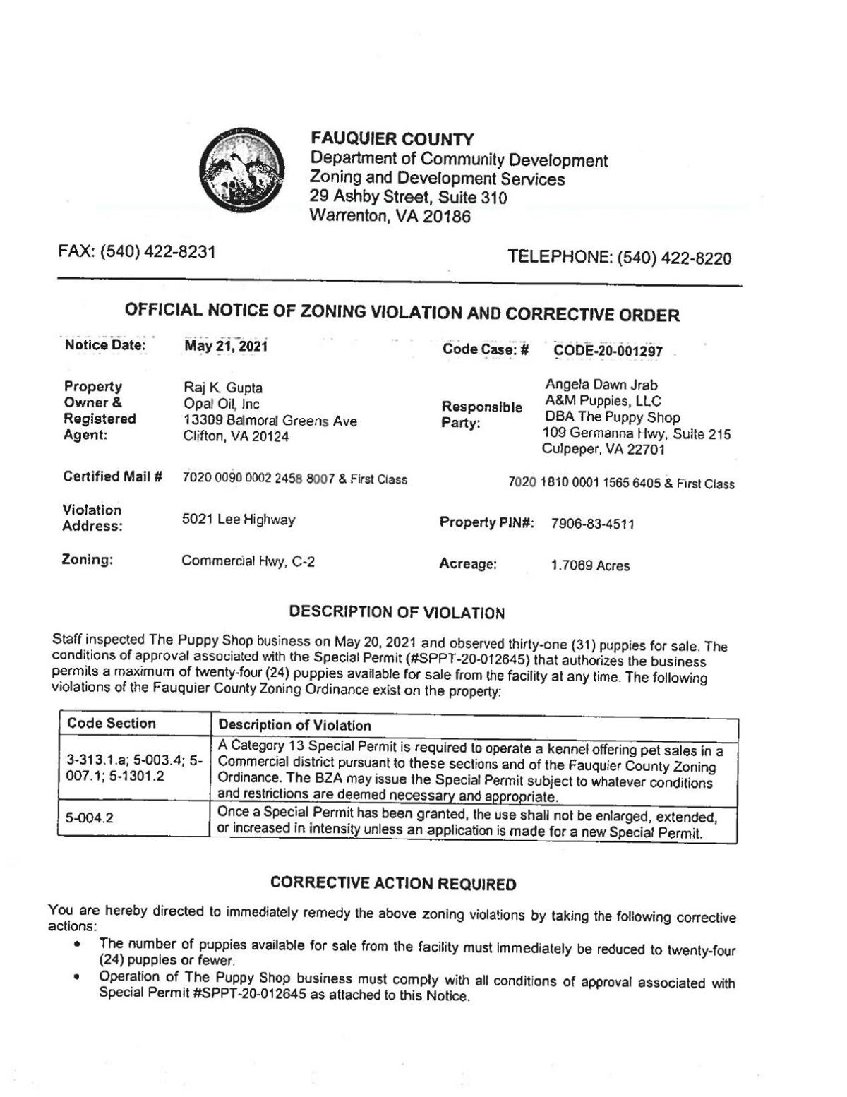 May 21 2021 zoning violation -- The Puppy Shop.pdf