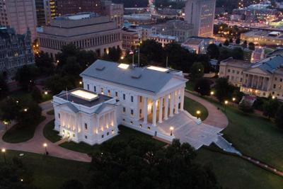 Virginia capitol at dusk