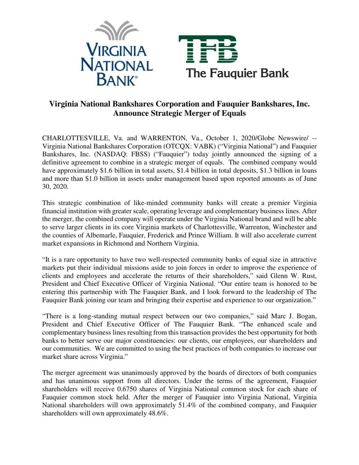 2020_10_01 The Fauquier Bank merger press release