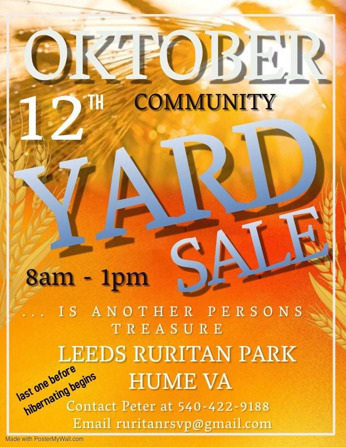 Fall Yard Sale at Hume Park | Calendar | fauquier.com