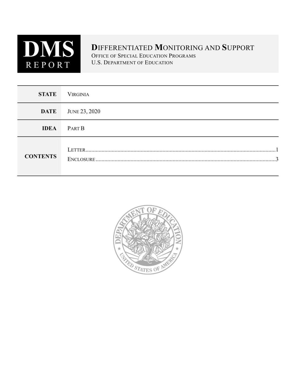 U.S. Dept. of Education Report on VDOE - June 23, 2020