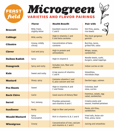 Microgreen pairings guide