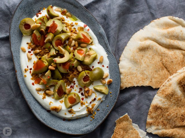 Labneh With Green Olives, Pine Nuts and Dukkah