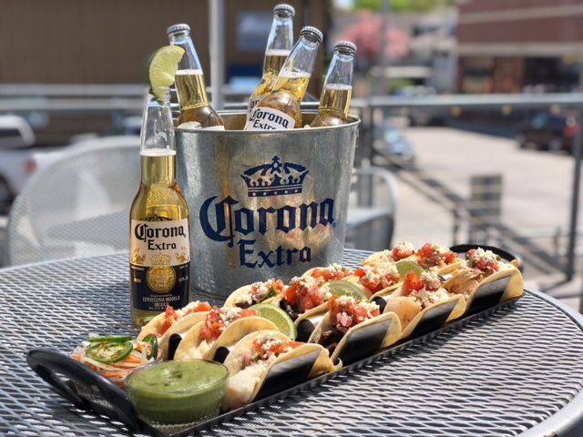 The Well Street Taco Platter and Corona Bucket