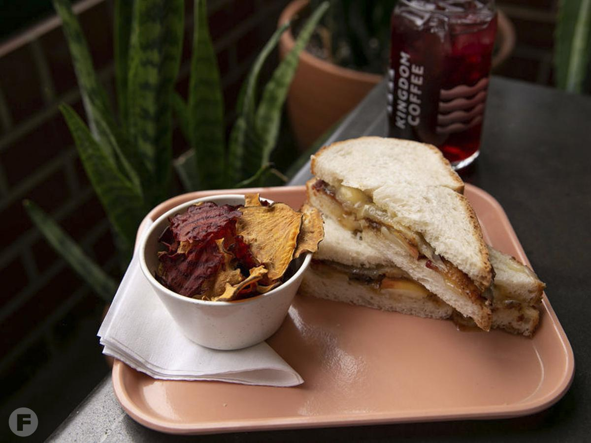 Kingdom Coffee bacon, fruit & cheese sandwich