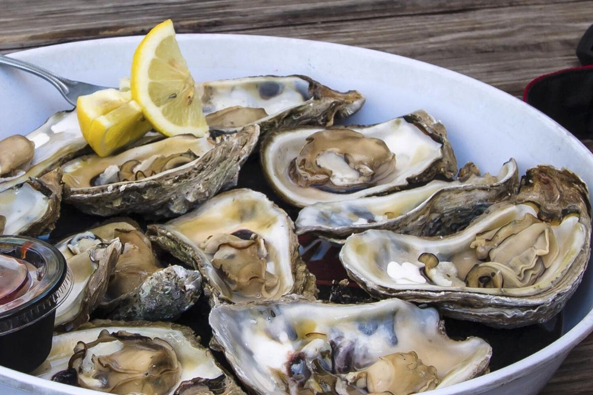 Oysters with shrimps