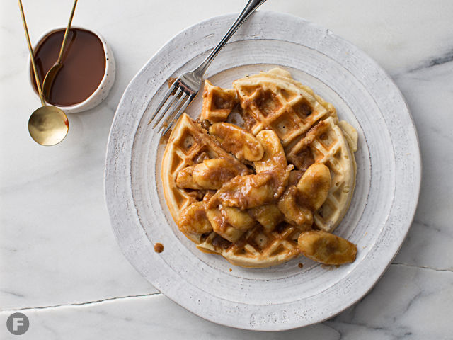 Banana-Bacon Waffles with Sautéed Bananas and Cajeta-Maple Syrup