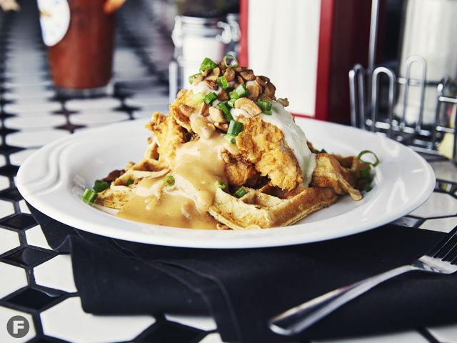 Vespa Kitchen Cashew Chicken and Waffles