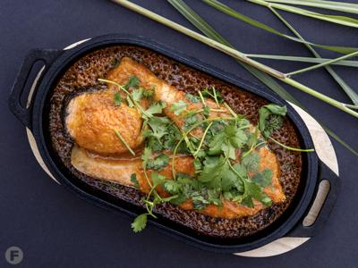 Wood-Roasted Salmon Steaks With Red Curry Sauce